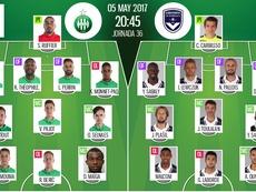 Les compos officielles du match de Ligue 1 entre Saint Etienne et Bordeaux. BeSoccer