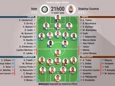 Les compos officielles de la demi-finale de l'Europa League entre l'Inter et le Shakhtar. BeSoccer