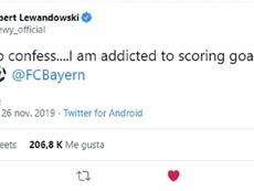 Confissão de Lewandowski em seu perfil oficial do Twitter. Captura/lewy_official