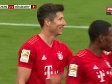 O primeiro gol de Lewandowski contra o Fortuna Düsseldorf foi um golaço. Movistar/LigadeCampeones