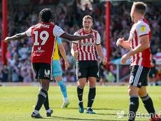 Lewis Macleod celebrates a goal against Rotherham. Twitter/BrentfordFC