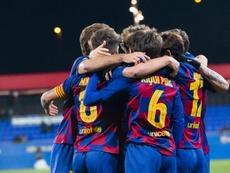 El Barça B puso fin a su racha de empates con un triunfo agónico. Twitter/FCBarcelonaB