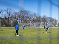 El Hertha Berlin volvió a entrenarse. Twitter/HerthaBSC