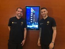 Godín y Vecino ya están con sus compañeros en China. Twitter/Inter