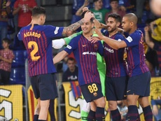 El Barça Lassa se metió en semifinales. Twitter/FCBfutbolsala