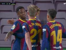 Ansu Fati s'offre un doublé pour lancer la saison du Barça. Capture/Movistar