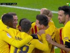 Pedri header draws Barca level at San Mamés. Screenshot/MovistarLaLiga