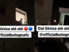Los jugadores del Bologna se fueron al hospital para animar a su técnico. Twitter/Toni_Padilla