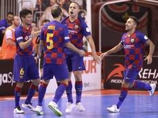 El Barça comienza con el pie en el acelerador. Twitter/FCBFutbolSala