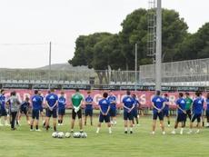 El Zaragoza entrenó pensando en el 'play off'. Twitter/RealZaragoza