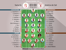 Los onces confirmados del Independiente Santa Fe-América de Cali. BeSoccer