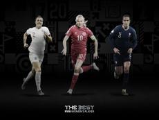 Bronze, Harder y Renard, finalistas al premio 'The Best'. Twitter/FIFAWWC