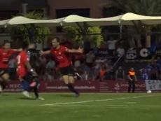 San Julián anotó el gol del ascenso de La Nucía. Captura/FFCV