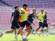 Luis Suárez y Braithwaite, con la puntería afinada. FCBarcelona