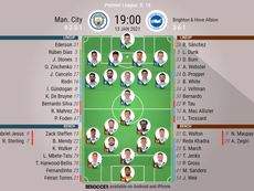 Man City v Brighton, Premier League 2020/21, matchday 18, 13/1/2021 - Official line-ups. BESOCCER