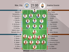 Man City v Shakhtar Donetsk. Champions League 2019/20. Matchday 5, 26/11/2019-official line.ups. BES