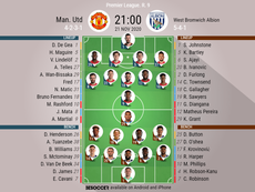Manchester United v WBA. Premier League 2020/21. Matchday 9, 21/11/2020-official line.up