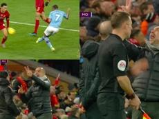 Enfado de Guardiola tras la polémica arbitral. Capturas/DAZN