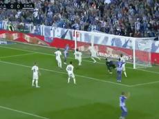 García reacted quickest to nod home the loose ball. Screenshot
