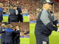 Maradona celebró a lo grande el gol de Ramírez. Captura/TNTSports