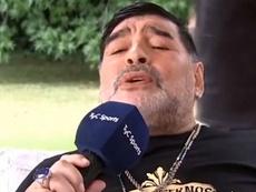 Maradona cantó en italiano. Captura/TyCSports
