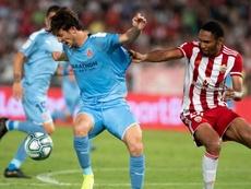 Marc Gual anotó el empate a uno ante el Almería. Twitter/GironaFC