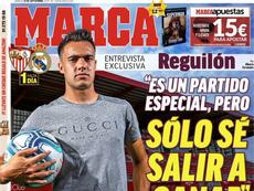 'Marca' entrevistó a Sergio Reguilón el fin de semana del Sevilla-Real Madrid. Twitter/Marca