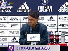 Gallardo no asistió a la rueda de prensa pospartido en Sarandí. Captura/TNTSports