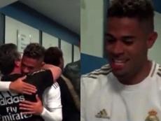 Mariano entrou muito feliz no vestiário. Capturas/RealMadrid
