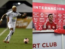 Marinho e Thiago Galhardo, artilheiros do Brasileirão 2020. Twitter SCInternacional/SantosFC