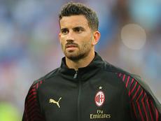 Mateo Musacchio, durante el calentamiento de un partido del Milan de la temporada 2018-19. ACMilan