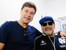 Pochettino visitó a Maradona antes del Gimnasia-Central Córdoba. Twitter/gimnasiaoficial