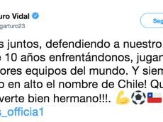 Vidal sacó pecho y alabó a Alexis tras su reencuentro. Twitter/ArturoVidal