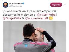 Iniesta y a Villa en el Vissel Kobe. Twitter/FCBarcelona_es