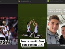 La plantilla de River mostró sus ánimos a Quintero. Instagram