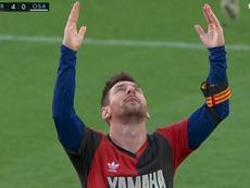 Messi le dedicó su gol a Maradona. Captura/Movistar+LaLiga