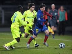 Messi face à Lyon le 4 février 2009. AFP