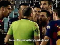 Messi tentou defender Dembélé após a expulsão. Captura/ElDiaDespues/Movistar