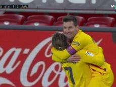 Griezmann finally finds Messi to make it 1-3. Screenshot/MovistarLaLiga