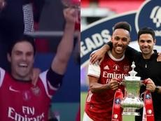 Arteta é campeão pelo Arsenal como jogador e treinador. Captura/Youtube/TheEmiratesFACup/AFP