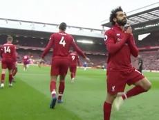 Mohamed Salah utilizo una postura clásica de yoga para celebrar su tanto. Captura/Movistar+