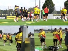 El Borussia derrochó juventud en su vuelta a los entrenamientos. Captura/bvb