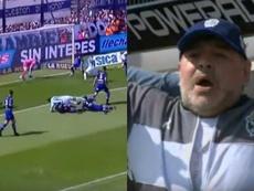La cantada que complicó el debut de Maradona. Captura/TNTSports/SAF