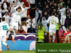 Vinicius celebrated his goal like Cristiano. AFP/Captura/Instagram/viniciusjunior