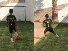 Cristianinho vai treinando finalizações ao melhor estilo CR7. Captura/ElmaAveiro  Add video