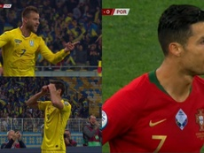 Ukraine beat Portugal. Capturas/ESPN/FutbolMediaset