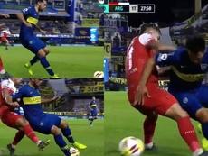 El espectacular caño de Mas que podría firmar el mismo Riquelme. Capturas/TNTSports