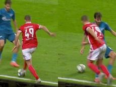 Adel Taarabt tiró un caño espectacular a un jugador del Zenit. Capturas/UEFATV