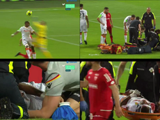 A horrible collision ended Lens' hopes of promotion to Ligue 1. Capturas/MovistarLigadeCampeones