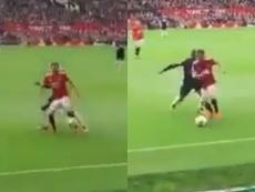 El control de Juan Mata que desató la ovación de Old Trafford. Captura/capitanfutbol